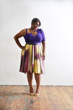 We love @Ty Alexander rocking this high waisted skirt and off the shoulder deep purple top. Beautiful summer style!