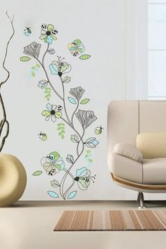 Pattern Flowers Removable Wall Decal Set