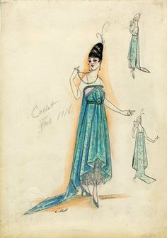 """""""Afternoon dress, Callot Soeurs, Fall 1916. Turquoise ankle length dress, train, white lace underdress; Empire style, white short sleeves. (Bendel Collection, HB 018-03)"""", 1916. Fashion sketch. Brooklyn Museum, Fashion sketches. (Photo: Brooklyn Museum, SC01.1_Bendel_Collection_HB_018-03_1916_Callot_SL5.jpg)"""