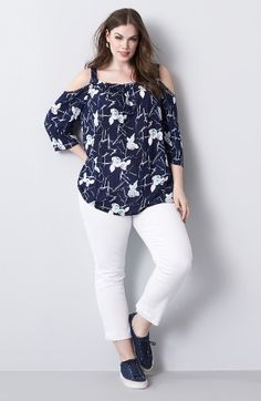 Sejour Top & KUT from the Kloth Jeans Outfit with Accessories (Plus Size) available at #Nordstrom
