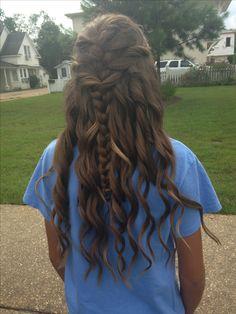 Homecoming hairstyles. Half up half down. Long hair.
