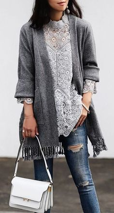 #winter #fashion /  White Lace Top + Grey Fringe Cardigan