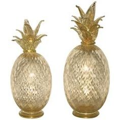 Seguso Italian Scaled Set of Two Gold Pineapples in Blown Murano Glass