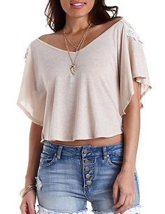 CHARLOTTE RUSSE  Embroidered Back Poncho Tee Hand Wash  $19