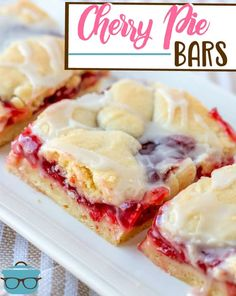 These Cherry Pie Bars are tasty and pretty! A homemade dessert that is easy to make and slices up and serves perfectly! Use any pie filling!