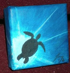 Sea Turtle Silhouette  Small Original Painting  by paintingjimmy1, $19.00