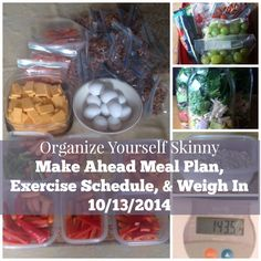 Weekly Meal Plan, Exercise Schedule, and Weigh In Oct 13th
