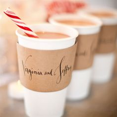 Custom Cup Sleeves for a Winter Wedding - love the candy cane stirrer for the hot chocolate!