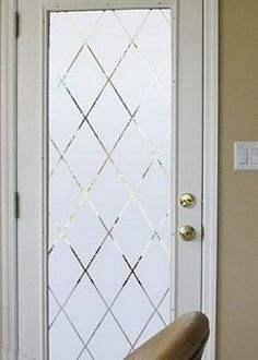 Classic diamond pattern transforms ordinary glass into etched glass that looks like it cost hundreds of dollars. The lines in this glass frost film are see through. The frosted areas are lite frost. Etched Glass Door, Frosted Glass Door, Sliding Glass Door, Glass Design, Door Design, Door Coverings, Window Privacy, Window Films, Glass Kitchen