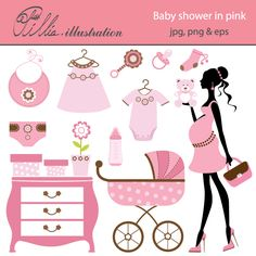This Baby shower in pink set comes with 14 cliparts featuring chic mom to be, holding a teddy bear, bib, dummy, baby bottle, baby carriage, storage cabinet,  rattle, plant, bodysuit, gift boxes, diaper and dress.