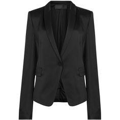 Haider Ackermann Glyzinie black satin blazer (£1,260) ❤ liked on Polyvore featuring outerwear, jackets, blazers, satin blazer, satin jackets, blazer jacket, short-sleeve blazers and satin blazer jacket