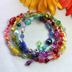 Memory wire bracelet -'...over the Rainbow' - multi-coloured glass - FREE UK P £8.95
