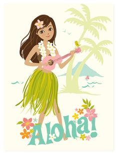 Aloha Hawaiian Hula Girl - nursery art for children on Etsy, $40.00