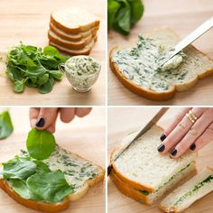 5 Tasty Tea Sandwich Recipes How to make a watercress + herbed butter tea sandwich—easy and delicious! Afternoon Tea Parties, Tasty, Yummy Food, Delicious Recipes, Snacks Für Party, Tea Party Foods, Tea Time Snacks, Party Finger Foods, Herb Butter