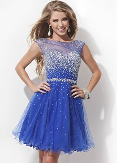 Sequined Sheer Chiffon Open Back Blue Short Homecoming Dress [TB-TS11477 Blue] - $174.00 : tidepromdresses.com