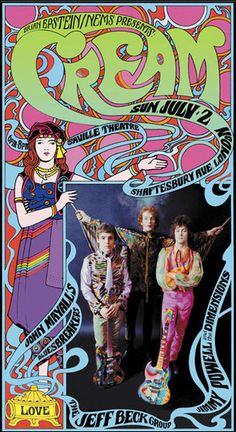 Cream Classic rock music psychedelic concert poster ☮ ☮ Hippie Style ☮ ☮