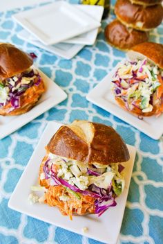 {slow cooker buffalo chicken sliders with blue cheese slaw} crowd pleasing!