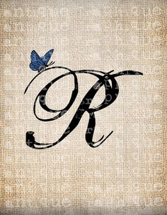 Antique Letter R Script Monogram With Door AntiqueGraphiqueAged