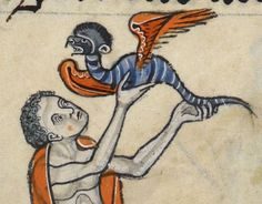 Flying Lessons - Rutland Psalter  Folio 49r - Manuscript made in England, probably in London AD 1260 Add MS 62925: Images from the British Library manuscript website. http://www.bl.uk/manuscripts/FullDisplay.aspx?ref=add_ms_62925