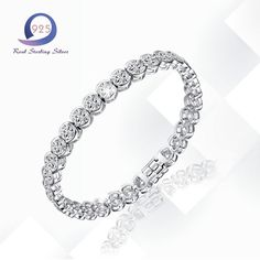 Merthus 925 Sterling Silver Bracelet Lab-Created Gemstone Charm Banquet Cubic Zirconia Tennis Bracelets for Party Fashion Women