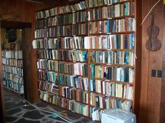 Part of Scott and Helen Nearing's library at the Good Life Center at Forest Farm (Penobscot Bay, Maine).
