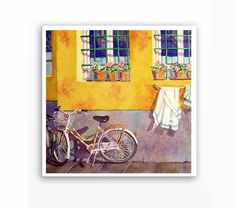 Bicycle Paintings / Watercolor Giclee Print / Florence Italy / Road trip bike bicycling cycling artwork / Watercolour village / 12 x 12 BCBT