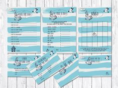 Baby Shower Games, Nautical Baby Shower Games, Summer Baby Shower Ideas, Blue baby shower. This Bundle includes: Price is right game, Bingo, Wishes for baby, Thank you card, Advice for Mommy Card, Predictions for Baby and Candy Guessing Game. Matching baby shower invitation available at: tranquillina.etsy.com