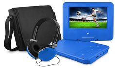 """Ematic Portable Swivel Kids DVD Player, Headphones and Bag. 7"""" or 9"""" Screen (Red, Purple or Blue)."""