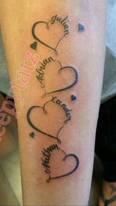 Grad years in frame text little heart tattoos, heart name tattoos, kid name Heart Tattoos With Names, Family Name Tattoos, Name Tattoos For Moms, Little Heart Tattoos, Baby Name Tattoos, Mother Tattoos, Mom Tattoos, Tattoos For Kids, Tattoos For Women Small