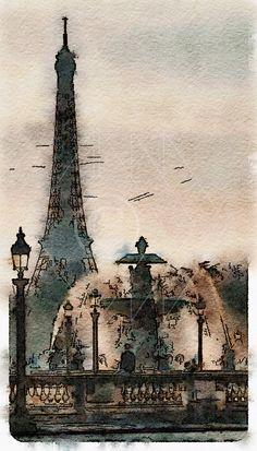 Printable Art, Instant Download, DIY Print At Home, Art Print, Watercolor, Paris, France, by edeblas on Etsy