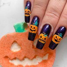 Creative Nail Designs for Short Nails to Create Unique Styles Creative Nail Designs, Short Nail Designs, Creative Nails, Nail Art Designs, Black And Purple Nails, Purple Nail Polish, Gel Polish, Halloween Nail Art, Cute Halloween