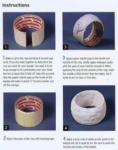 Decoupage Bangle from Contemporary Papier Mache Use papier mache pulp. - Decoupage Bangle from Contemporary Papier Mache Use papier mache pulp/clay to coat cardb - Paper Mache Clay, Paper Mache Crafts, Paper Bead Jewelry, Paper Beads, Paper Toy, Diy Paper, Paper Crafting, Deco Podge, Map Fabric