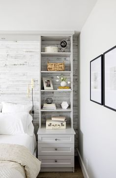 Insanely Bedroom Storage Ideas - To make this happen, you can start by changing the bedroom storage. Here are some bedroom storage ideas for your home Bedroom Built Ins, Small Bedroom Storage, Small Master Bedroom, Small Bedroom Designs, Shelves In Bedroom, Home Bedroom, Bedroom Furniture, Bedroom Decor, Wall Shelves