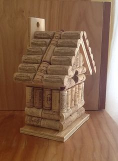 Wine cork and wood bird house. Birdhouse by LesliesCorkCreations