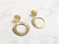Handmade gold leather hoop earrings Benu Made