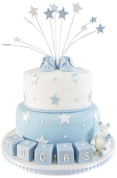 Baby Booties & Stars Christening Cake - Standard Size