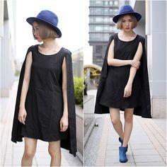 Forever 21 Hat, Choies Black Chiffon Cloak Dress
