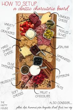 Today I'm sharing the process I use to create and setup a classic charcuterie board which is a great way to serve your guests for a casual meal or party.  Last year for Christmas our good friend made us a beautiful, big charcuterie serving board out of a solid piece of live edge cedar ... Read More about How to Setup a Classic Charcuterie Board Charcuterie Recipes, Charcuterie And Cheese Board, Charcuterie Platter, Charcuterie Picnic, Cheese Boards, Antipasto, Plateau Charcuterie, Party Food Platters, Cheese Fruit Platters