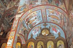 The frescoed walls and ceiling above the iconostasis (alter screen) in the New Gracanica Serbian Orthodox monastery church in Grayslake, Illinois.