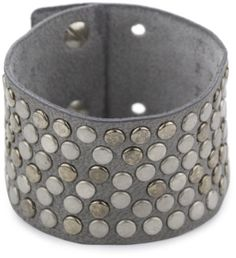 """Streets Ahea0d 1.5"""" Grey Leather Studded Cuff Bracelet with Ultra Suede Streets Ahead. $52.00. Cuff Filled With Silver, Old Silver And Gunmetal Studs. Fastens with collar studs adjustable to fit 6-7"""". Ultra suede backing for comfort. Made in USA"""