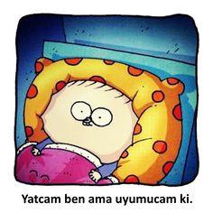 Yatcam ben ama uyumucam ki. #karikatür #mizah #matrak #komik #espri #şaka #gırgır #komiksözler #fırat
