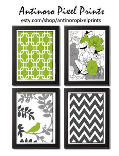 Unframed Chartreuse Vintage Modern Bird Art Print  - Set of Four 8x11 Print Featured in Chartreuse  Grey White