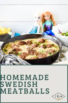This easy homemade Swedish Meatballs Recipe is inspired by Princess Anna and Princess Elsa from Frozen. Tender beef meatballs cooked to perfection in a cast iron skillet, surrounded by a delicious and easy cream sauce. Topped with lingonberry preserves, this weeknight meal is like no other comfort food! Get your children excited to try new foods as they learn to eat like a princess!