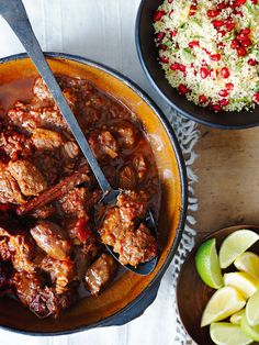 This fragrant lamb and date tagine is flavoured with coriander, cumin, cinnamon and ginger and served with pomegranate couscous.