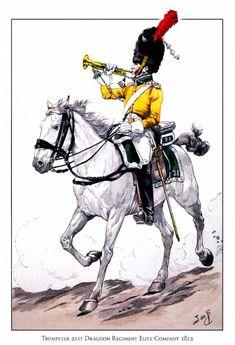 Trumpeter 21sr Regiment Dragoons Elite Company 1812, by JOB (Jacques Onfroy de Breville).