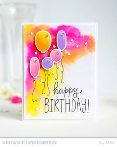 Handmade card from Kay Miller featuring the Birthday Wishes & Balloons stamp set and Die-namics.