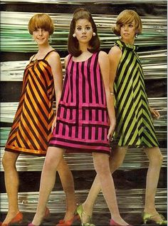 Stripes -- From Seventeen magazine, September 1967 fashion layout. Colleen Corby, center, one of my favorite models. 1967 Fashion, 60s And 70s Fashion, Retro Fashion, Fashion Models, Vintage Fashion, Womens Fashion, Fashion Trends, Sporty Fashion, Ski Fashion