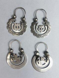 Antique Ethnic Mayan Guatemalan Silver Moon Hoop Earrings by ColeccionLunaVintage