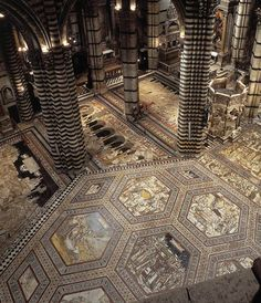 The marble pavement of the Cathedral of #Siena.