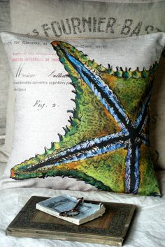 Cotton Pillow Coverthe starfish  Cotton and burlap by JolieMarche, $35.00